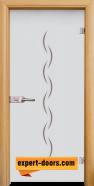 Стъклена интериорна врата Gravur G 13-1, каса Светъл дъб