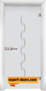 Стъклена интериорна врата Gravur G 13-1, каса Бяла