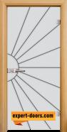 Стъклена интериорна врата Gravur G 13-2, каса Светъл дъб