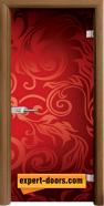 Стъклена интериорна врата Print G 13-11, каса Златен дъб