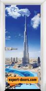 Стъклена интериорна врата Print G 13-16 Dubai, каса Бяла